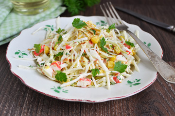 salad with corn, cabbage and mustard sauce