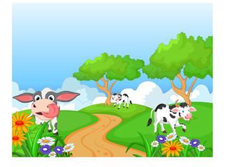 Cartoon happy cow smile in the farm