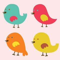 Set of Lovely Birds Vector Illustration.