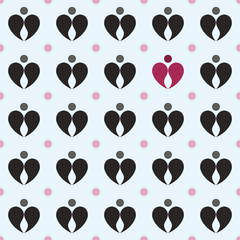 Abstract dots and droplets, creating a heart, black and red. Sea