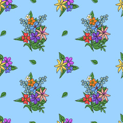 Bright bouquet of flowers on a blue background. Seamless pattern