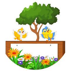 cute bird cartoon with blank sign