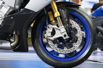 Disc brake of modern motorcycle's front wheel
