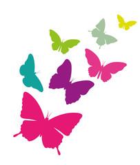 Schmetterlingsschwarm Vektor freigestellt
