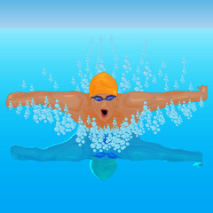 a swimmer on the pool vector