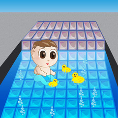 a child playing on the pool vector