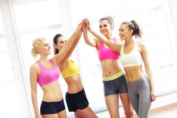 Foto op Plexiglas Dance School Group of women cheering after training