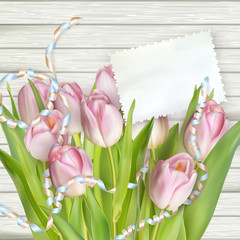 Tulips lying on a white textured table. EPS 10