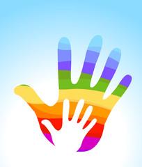 hand rainbow helping