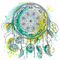 Dream catcher with ornament. Tattoo art. Colorful vintage hand drawn vector illustration in watercolor grunge style. Design concept for banner, card, scrap booking, t-shirt, bag, print, poster.