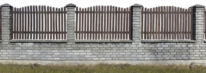 Rustic wooden and bricks fence isolated sections