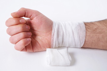 male hand with the bandage