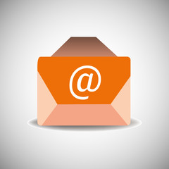 Isolated orange envelope with at email sign on the envelope