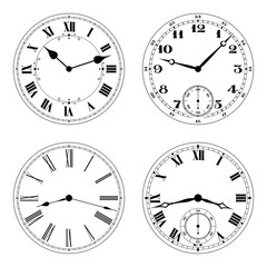 Editable vector clock faces in black an white. Round shape. Easily remove and replace hands and design.
