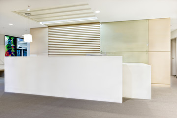 Modern reception office or building with lights on