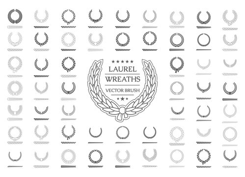 Illustration of a set of vector laurel wreaths and brush them.