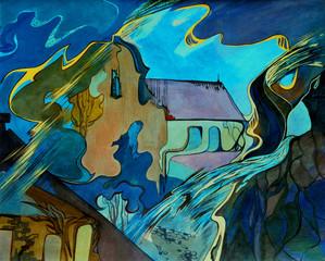 modern surrealism landscape with a church, illustration