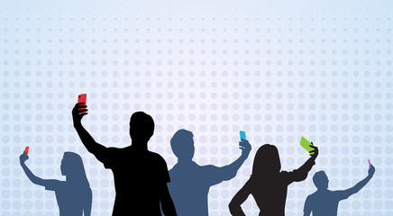 People Group Silhouette Taking Selfie Photo On Cell Smart Phone