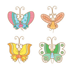 Cartoon butterfly set. Cute butterflys collection. Children's illustration. Vector image.