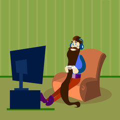 Man Play Video Game, Bearded Guy Hold Gaming Console