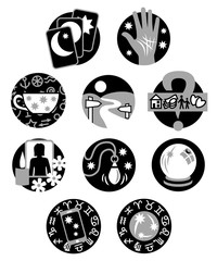 Ten Psychic Fortune Teller icons - black