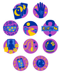 Ten Psychic Fortune Teller icons - purple and blue