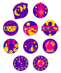 Ten Psychic Fortune Teller icons - pink and purple
