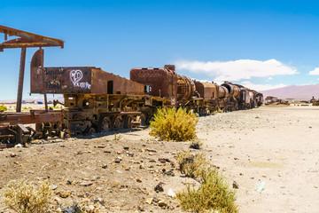 Vintage rusty old steam train