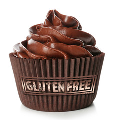 Chocolate cupcake and gluten free sign with text on white background