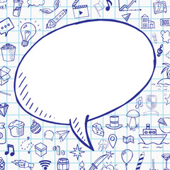 Doodle speech bubble with objects on notebook paper,vector hand drawn isolated object