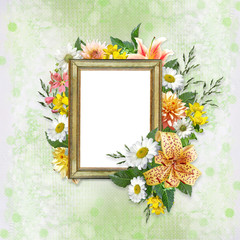 Tender background with frame and beautiful flowers