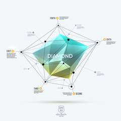 Abstract green polygonal diamond, brilliant or stone with edges,