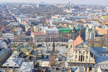 View from Lviv City Hall in the city center