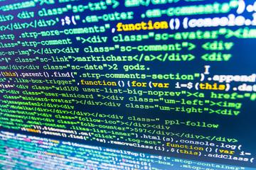 Monitor photo.  Web site codes on computer monitor. Computer program. Programmer developer screen. Developer working on websites codes in office.  Computer script.