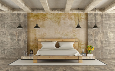 Wooden double bed in grunge room
