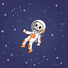 Dead astronaut floating in space.