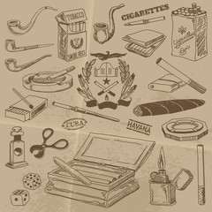 Doodle Contours of Smoking Accessories