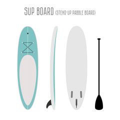 Vector surf sup board with three sides