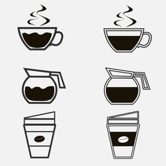 Coffe Icons Set. Editable Flat Vector Illustrtion.