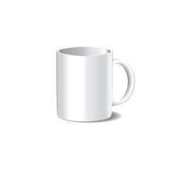 Photo-realistic vector illustration of white cup for mock-ups and branding.