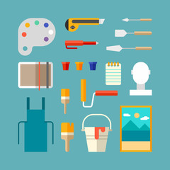 Set of Painter Supplies and Tools. Interior Design Concept. Flat Design Vector Illustration