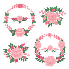 Flowers Set. Floral Frames. Greeting Cards Decoration. Wreath of Flowers