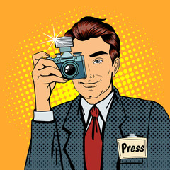 Photographer Paparazzi. Reporter with Camera. Media Representative. Pop Art Banner