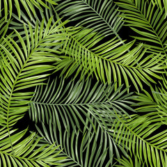 Seamless Pattern. Tropical Palm Leaves Background. Vector Background