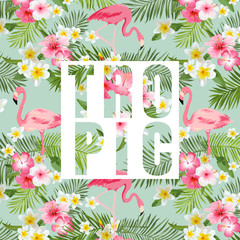 Tropical Flowers and Leaves. Tropical Flamingo Background.