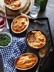 Shepherds pie, kumara, spinach, red wine and water