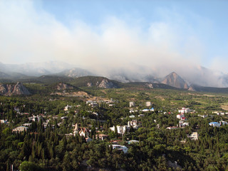 Black Sea Simeiz fire in the forest