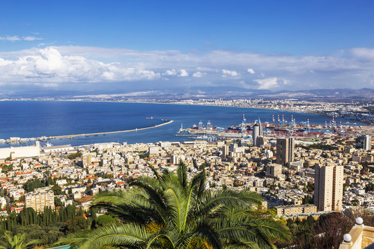 Beautiful panoramic view from Mount Carmel to cityscape and port in Haifa, Israel.