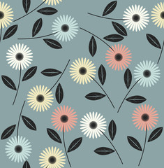 Endless pattern with abstract flowers