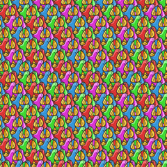Seamless pattern of candy wrappers, tails from the wrapper look like rabbit ears.